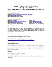 Fall 13 Syllabus PSYCH 1 Introduction to Psychology