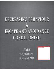 Lec 6 decrease behav & esacpe and avoidance conditioning