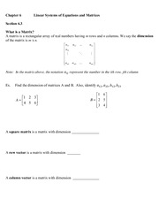 Linear Systems of Equations Lecture notes
