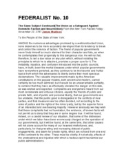 FEDERALIST PAPERS 10&51