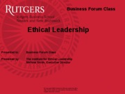 Business Forum Ethics Session 2 Oct. 31, 2011