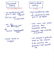 Chapter 5 notes - ABC vs traditional (job) costing