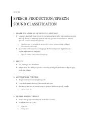 Speech Production Notes