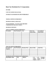 Basic Tax Worksheet for C-Corporations