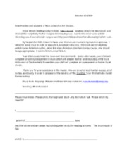 independent reading parent letter