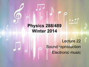 Sound reproduction and Electronic Music Lecture