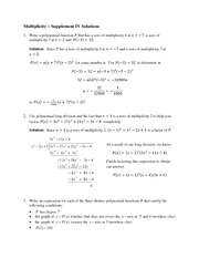 Math 105 Multiplicity  Supplement IV Solutions