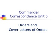CC Unit 5, Orders and Cover Letters of Orders
