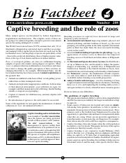 208 Captive breeding and the role of zoos