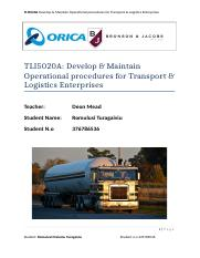 Develop & Maintain Operational procedures for Transport & Logistics Enterprises.doc