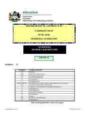 Maths Lit Grade 10 MEMO pdf - Mathematical Literacy 1 NSC