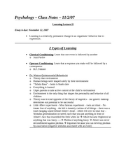 Class Notes - 11-2-07