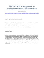 MGT 505 Week 10 Assignment 5 - Integrated Business Communication - Strayer University NEW