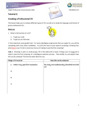 Tutorial 2 Writing a Professional CV and a Winning Application Letter updated