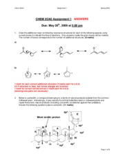 Chemistry 2OA3 2009 Assignment 1 Answers