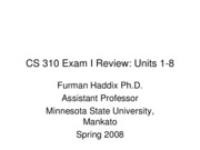 CS 310 Exam I Review