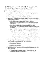 GEOG 105 Assessment 2 Topics List and Practice Questions List