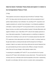 State the Atomic Truthmaker Theory thesis and explain it in relation to the Correspondence Theory of