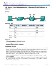 08.1.4.8 Lab - Designing and Implementing a Subnetted IPv4 Addressing Scheme