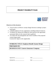 PROJECT FEASIBILITY PLAN