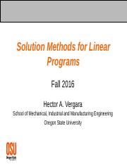 05 - Solution Methods for LPs - F16