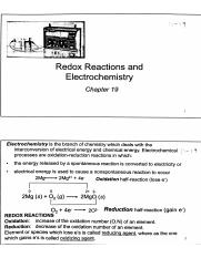 Chapter 19 Notes - Redox Reactions and Electrochemistry