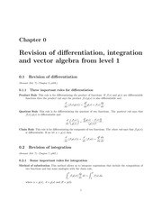 Lecture notes: Revision differentiation and integration