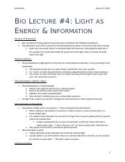 Bio Lecture #4 - Light as Energy and Informatoin.docx