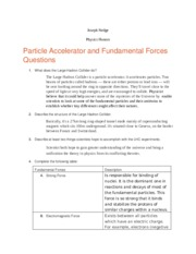 Particle Accelerator and Fundamental Forces Questions