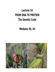 Lecture 34 Genetic code w o 2014