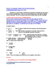 FILE 17 Rational Expressions Math 0096 0097 Summer 2010