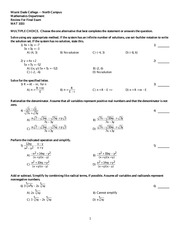 Intermediate College Algebra Mat 1033 CCI