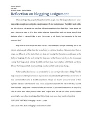 Reflection on blogging assignment