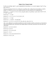 Math 4 Test 2 Study Guide on Linear Algebra