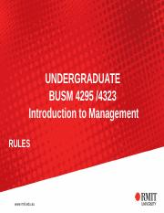 BASIC INFORMATION BUSM 4295 and 4323 Introduction to Management week 1(1)
