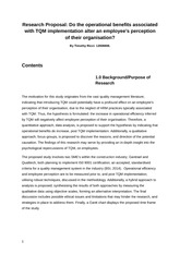 Research Proposal - Total Quality Management