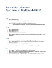 Introduction to Business - Study areas for Final Exam Fall 2017.docx