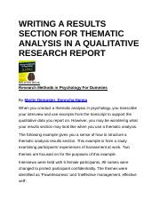WRITING A RESULTS SECTION FOR THEMATIC ANALYSIS IN A QUALITATIVE RESEARCH REPORT.docx
