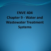 3 Water and Wastewater Systems - Chapter 9 Spring 2015