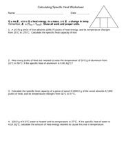 Worksheet - Calculating Specific Heat (1) - Calculating Specific ...