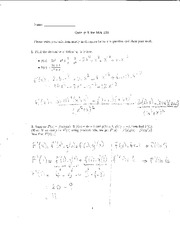 Quiz 5 Solution on Elementary Calculus