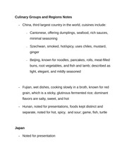 Culinary Groups and Regions Notes