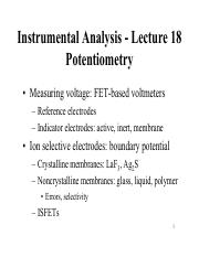 Lecture 18 - Potentiometry
