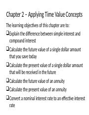 Chapter 2 – Applying Time Value (TVM) Concepts