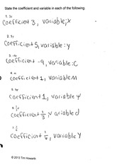 math homework: coefficients and variables
