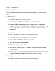 MGM 1 - entrepreneurship I notes