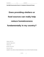 Does providing shelters or food sources can really help reduce homelessness fundamentally in my coun