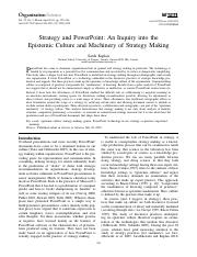 Kaplan - Strategy and PowerPoint An Inquiry into the Epistemic Culture and Machinery of Strategy Mak