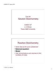 Lecture 8 on Solution Stoichiometry