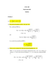 ENSC 805 Fall 2010 Final Exam Solutions